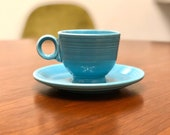 Vintage Fiestaware Fiesta ware Homer Laughlin Teacup and Saucer Set in Turquoise Blue