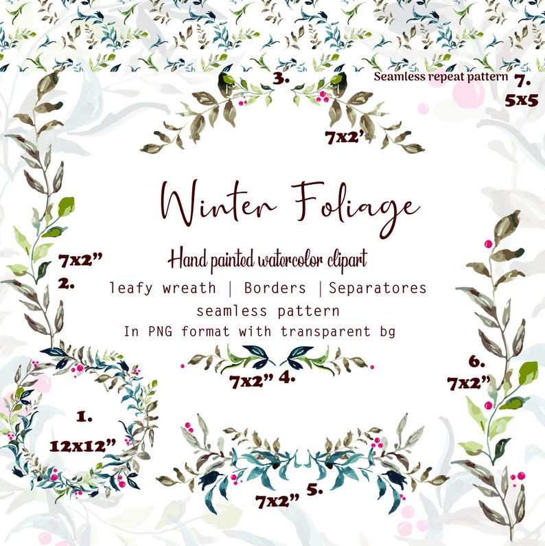 PNG Invitation graphics Bouquet Winter foliage clipart Holiday clipart set
