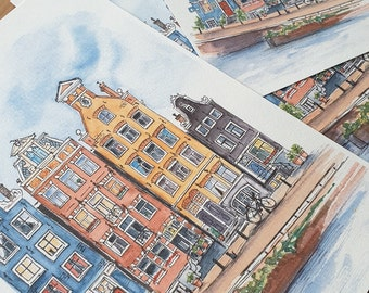 Amsterdam watercolor painting, Canal houses illustration, original artwork 24x28.5 cm - 9.4x11,2 inch