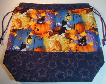 Halloween Drawstring Project Bag with DPN Holder