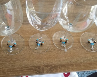 Pastels Hen Night 10 Wine Glass Charms Beach Theme Wedding Dinner Party