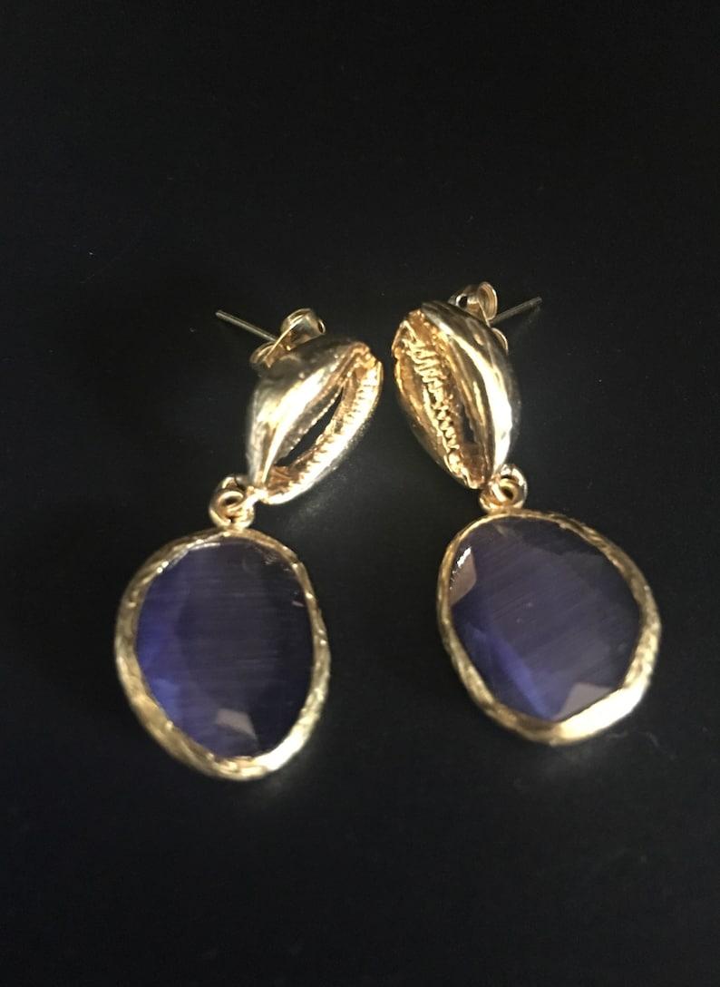 Gemstone Earrings Small Drop Earrings Casual Earrings Turkish Jewelry   Gold Drop Earrings Coffee Bean Shell Earrings