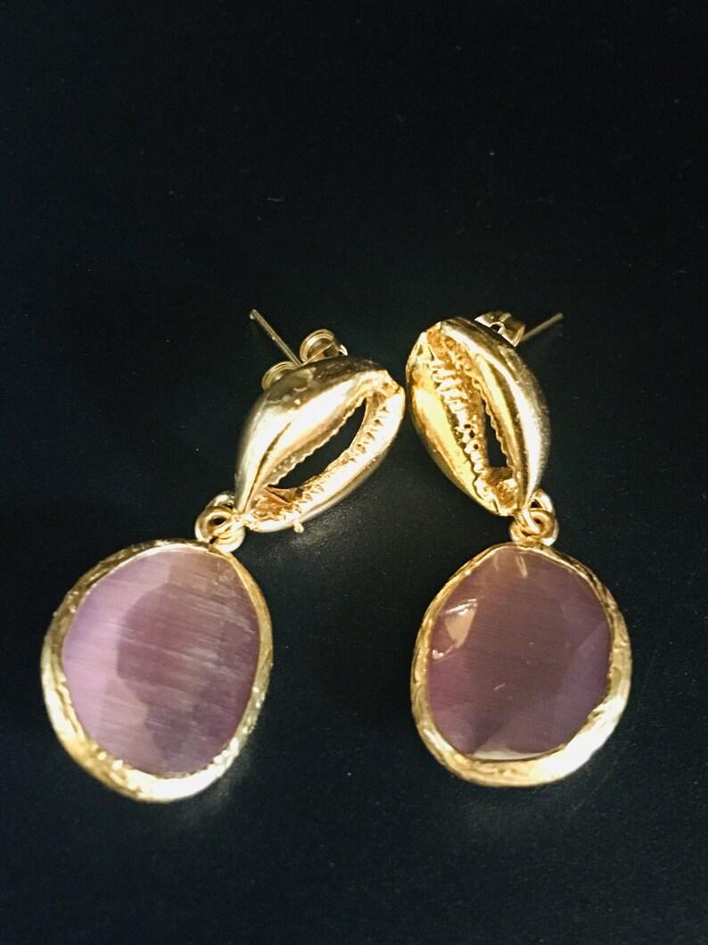 Gemstone Earrings Small Drop Earrings Casual Earrings Turkish Jewelry | Gold Drop Earrings Coffee Bean Shell Earrings