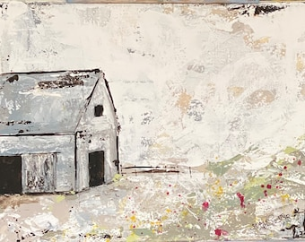 abstract art Barn Lone Barn on Road painting canvas 34 thick canvas