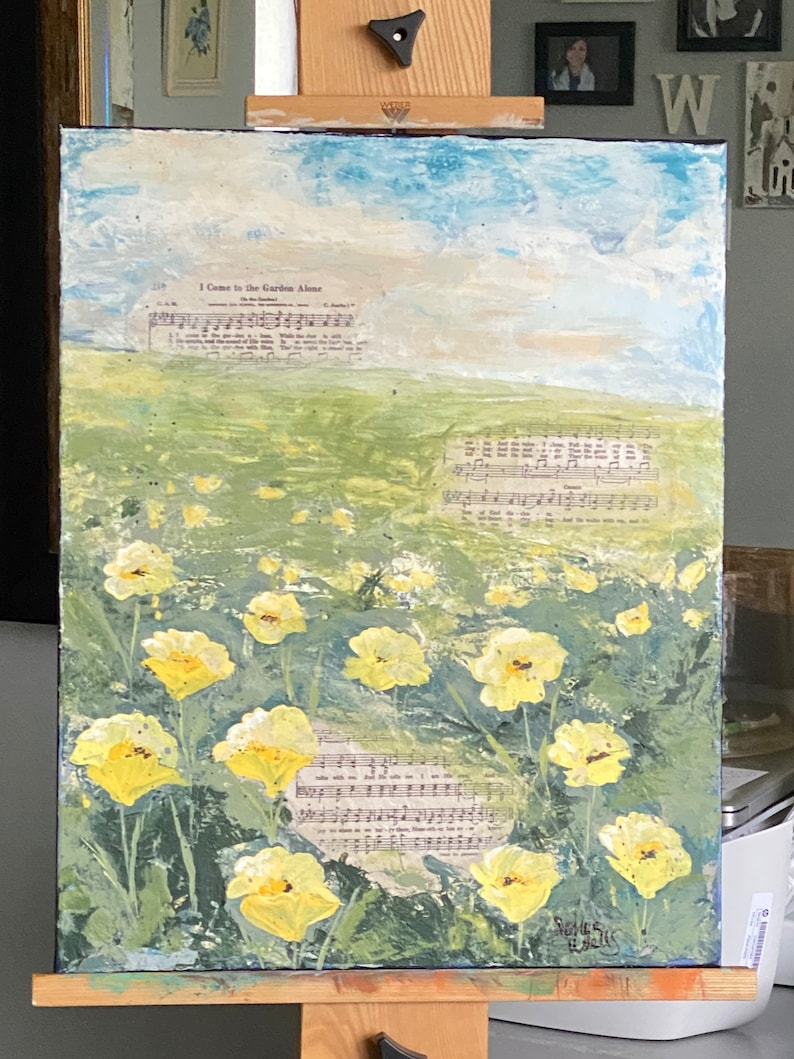 Custom Mixed Media Collage Hymn on canvas 16x20