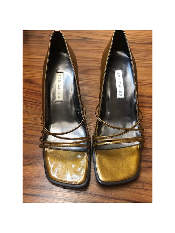 Vintage Ann Marino 90s Pumps Gold S: 7.5