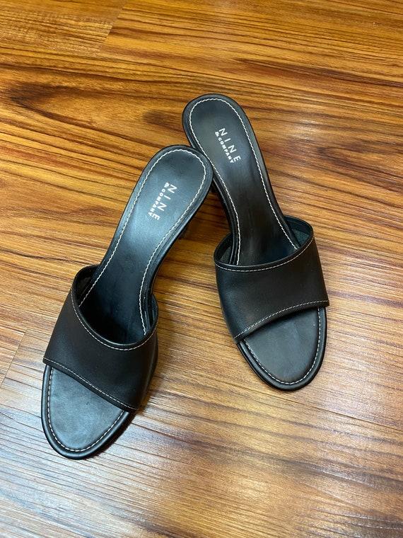 90s/Y2K Nine & Company Black Mules Size 6 - image 3