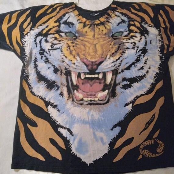 Vintage Liquid Blue Tiger King Joe Exotic AOP T-Sh