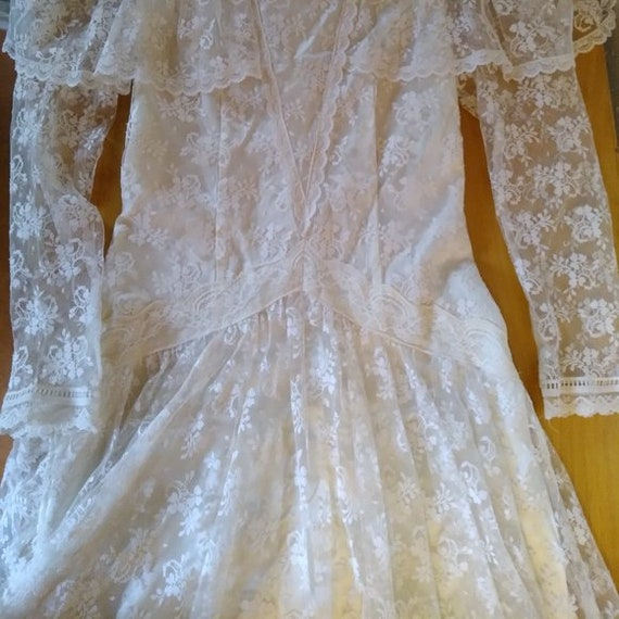Vintage Gunne Sax White Lace Prairie Dress - image 2