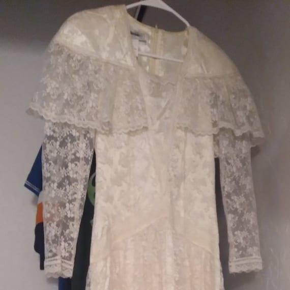 Vintage Gunne Sax White Lace Prairie Dress - image 8