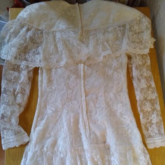 Vintage Gunne Sax White Lace Prairie Dress - image 4