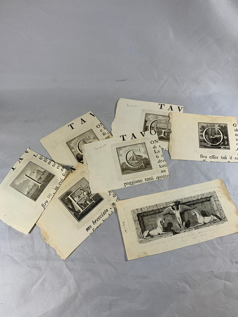 1800/'s Etchings Prints Media Art Supplies on 100/% cotton watermarked paper Large lot of 14 sheets d330