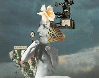 Self-Portrait with Machine - Collage Art Print - Multiple Sizes