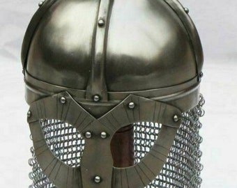 Medieval LARP Norman Viking Armor Helmet With Chain Mail  best gift for Halloween|| Christmas|| New year