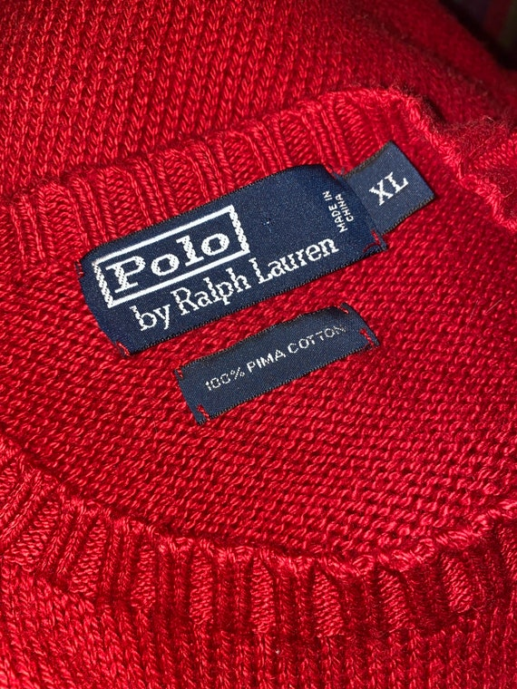 80s 90s Vintage POLO by Ralph Lauren Red Crewneck… - image 9