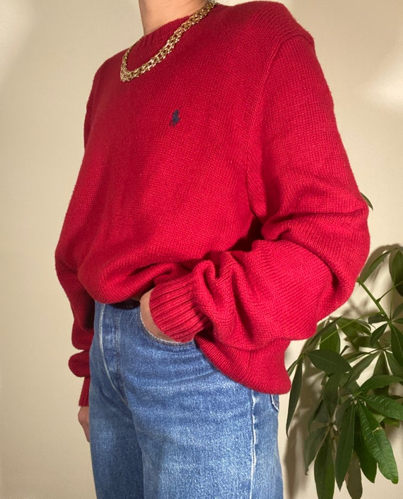 80s 90s Vintage POLO by Ralph Lauren Red Crewneck… - image 8