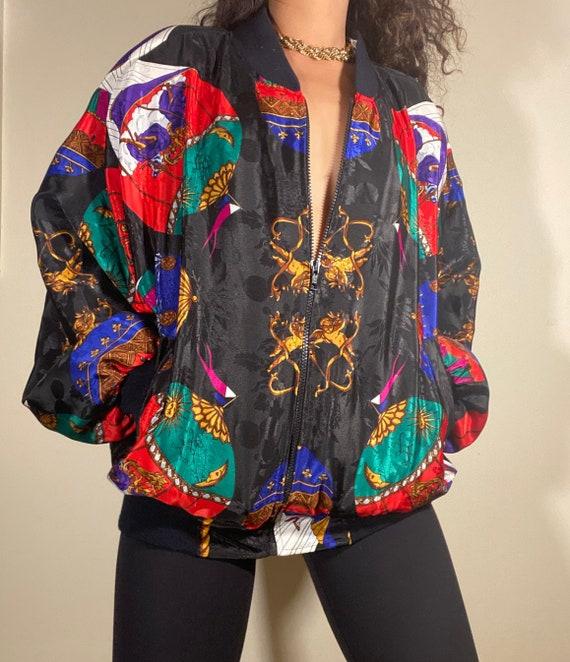Vintage Silk Scarf Print Bomber Jacket Black Red G