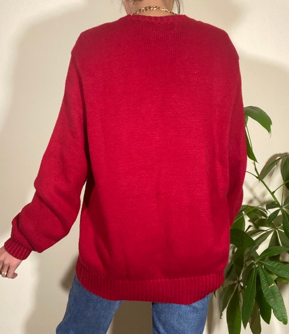 80s 90s Vintage POLO by Ralph Lauren Red Crewneck… - image 5
