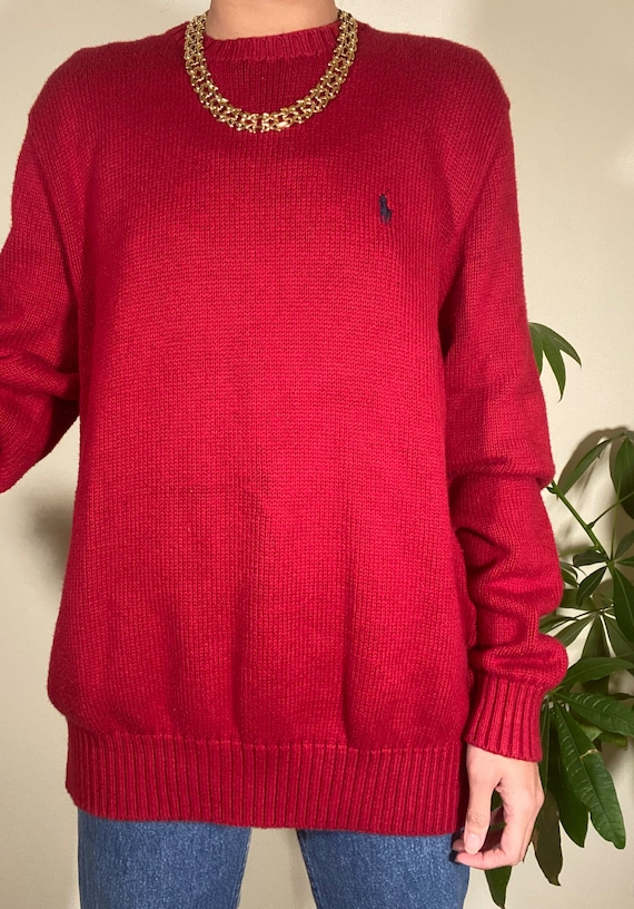 80s 90s Vintage POLO by Ralph Lauren Red Crewneck… - image 2