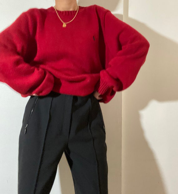 80s 90s Vintage POLO by Ralph Lauren Red Crewneck… - image 10