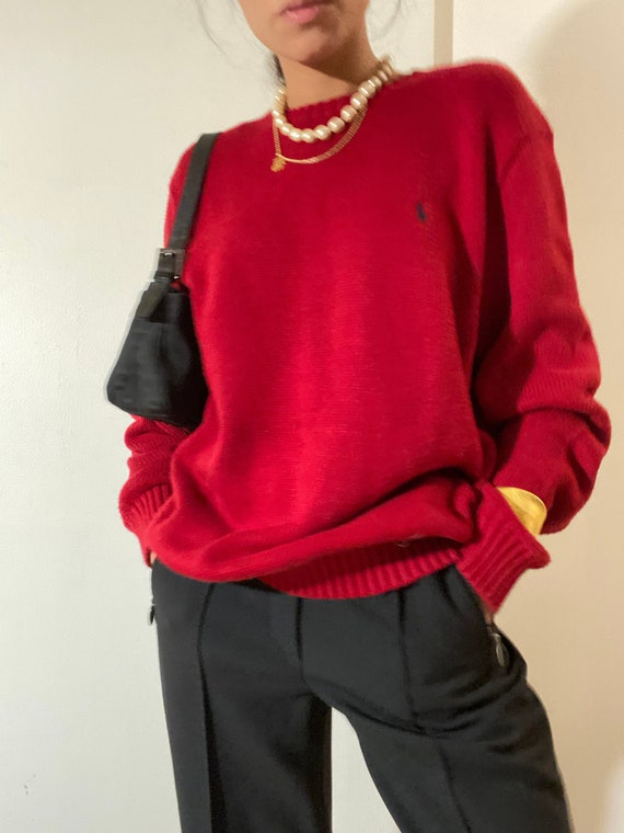 80s 90s Vintage POLO by Ralph Lauren Red Crewneck… - image 1