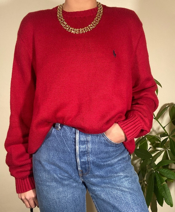 80s 90s Vintage POLO by Ralph Lauren Red Crewneck… - image 4