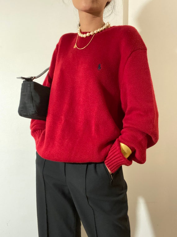 80s 90s Vintage POLO by Ralph Lauren Red Crewneck… - image 6