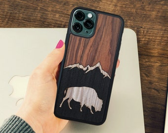 Natural Wood iPhone Case Protective Cover with buffalo bison animal design