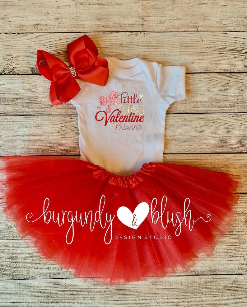 First Valentine/'s Day Personalize Valentine\u2019s Day outfit Little Miss Valentine Tutu Set