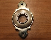 Antique Brass Small Victorian Door Knob Escrutcheon Backplate 3-1 2 quot X 2 quot