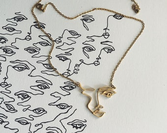 Brass Pendant Abstract Art Necklace 1  Square