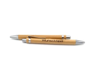 Ballpoint pen made of pear wood with wish engraving