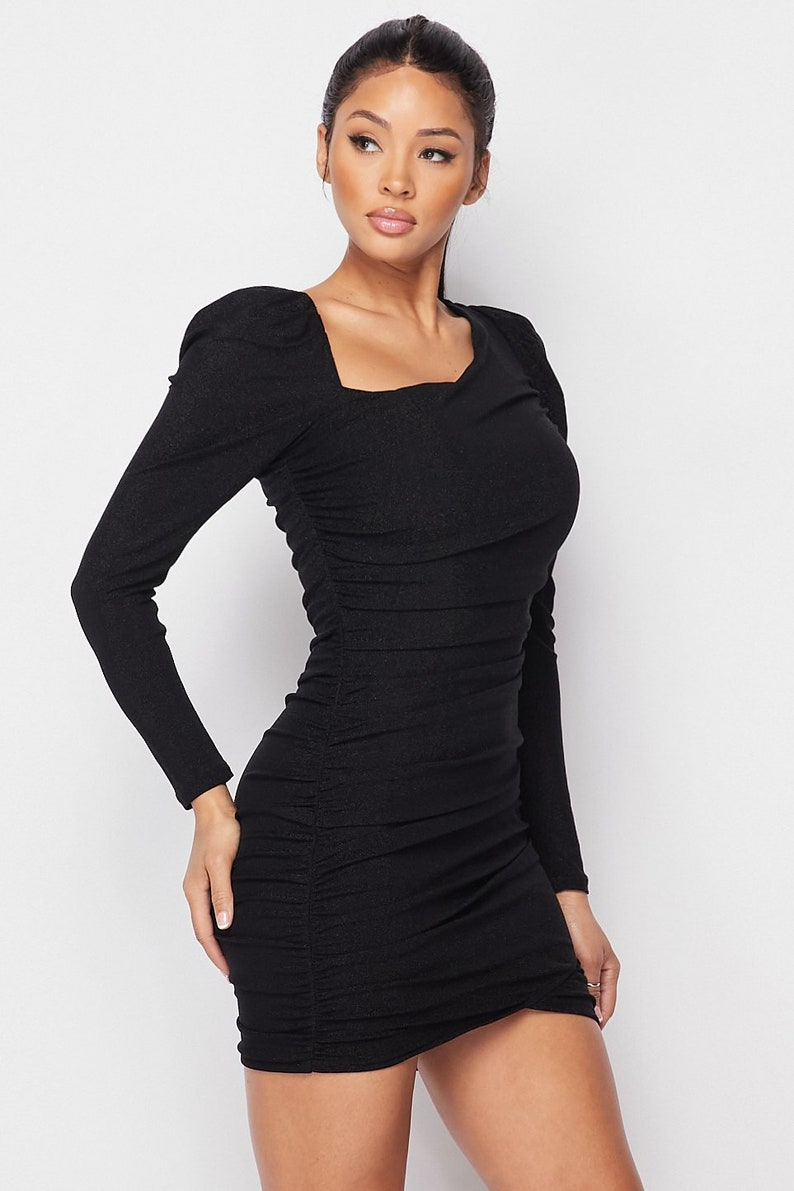 Asymmetrical Neckline Puff Sleeve Mini Dress