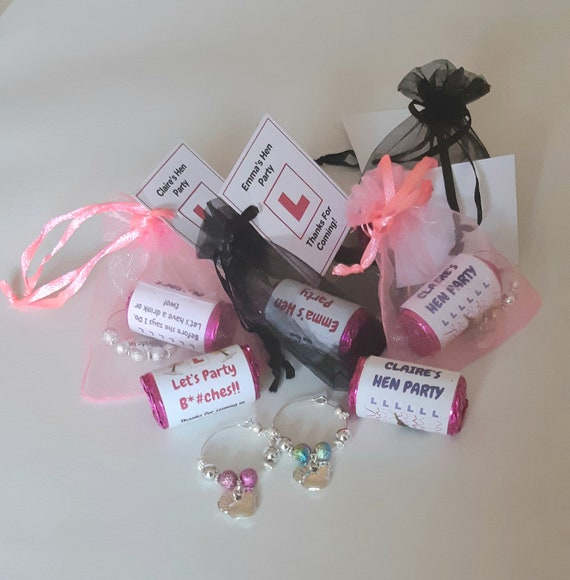 Personalised Wedding Favours //Hen Party Favours Name Wine Glass Charms b