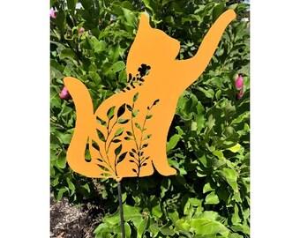 Cat Kitten Garden Tree Yard Decor Art Metal Sculpture 18 Gauge Metal Steel 10 tall x 7 1//4 wide Cat Lovers Unique Gift