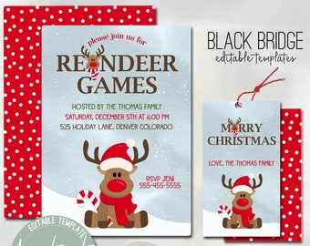 Reindeer Games Birthday Reindeer Invitation Printable or Printed with FREE SHIPPING ANY wording Christmas Party Invitation