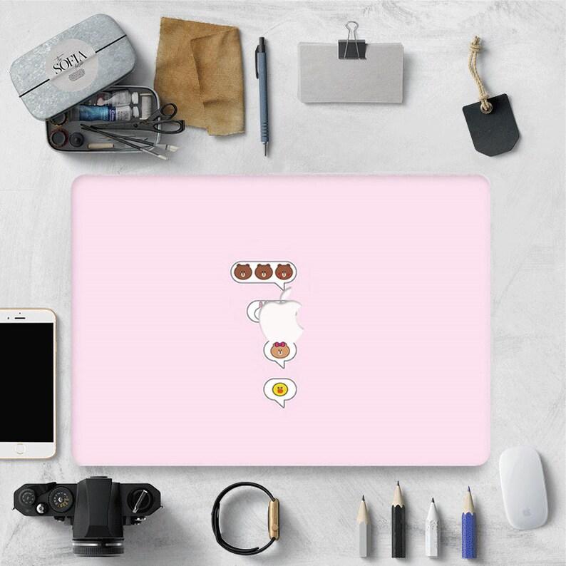 Pink Line Friends Brown Bear MacBook Case MacBook Pro 13 Case MacBook Air 13 2018 12 Pro Retina 13 2019 Pro 15 13 Cover