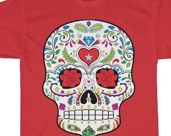 Sugar Skull Mexican Top Hat Boys Crew Neck Short Sleeve T-Shirts Tees