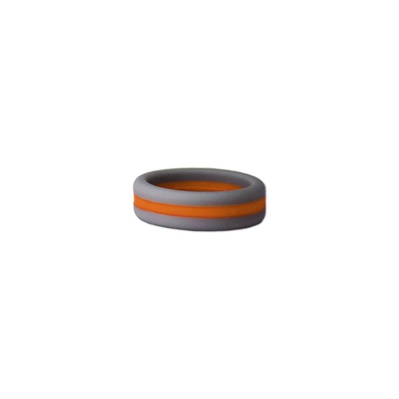 Gray with Orange Stripe Silicone Ring