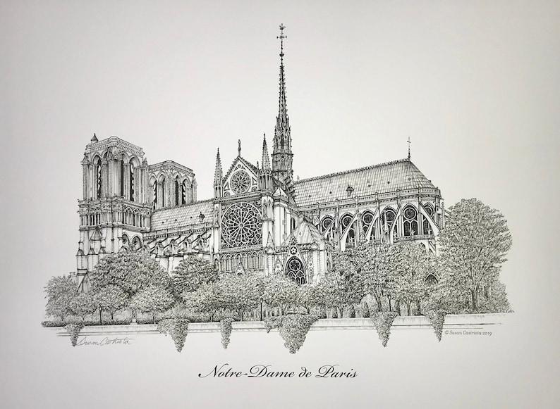 NOTRE-DAME de PARIS pen & ink print by Susan Castriota  image 0