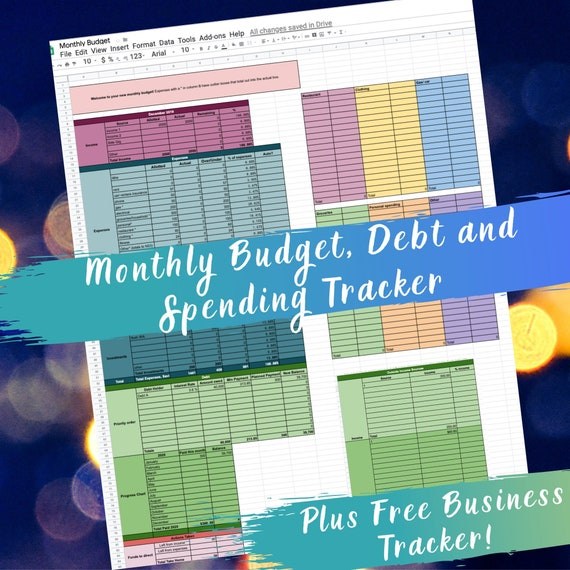 Monthly Budget Template Zero Based Budget Google Sheets Etsy