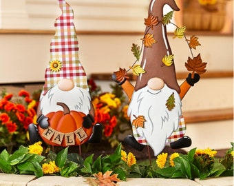 SALE + FLAT SHIPPING!!! Fall Gnome Garden Yard Stake, Thanksgiving Harvest Outdoor Lawn Decoration