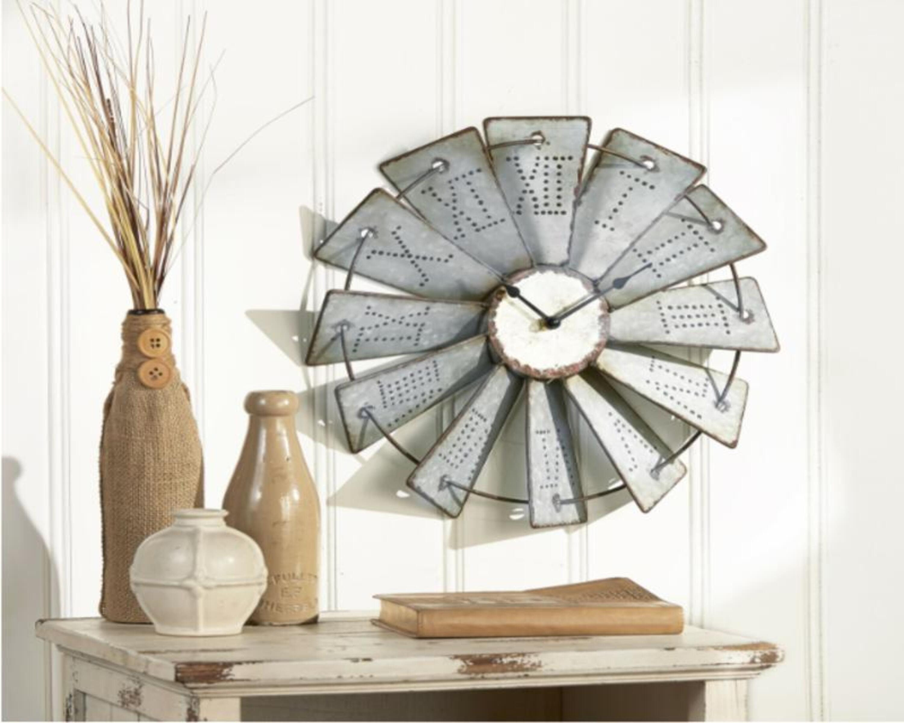 Farmhouse Metal Embossed Rustic Windmill Wall Clock Vintage Primitive Country
