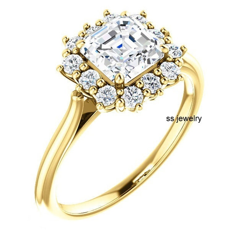 Near Colorless Moissanite Wedding Ring 1 Ct Asscher Cut Ring Art deco Vintage Ring Ring For Engagement 10K14K18K Ring in Yellow Gold