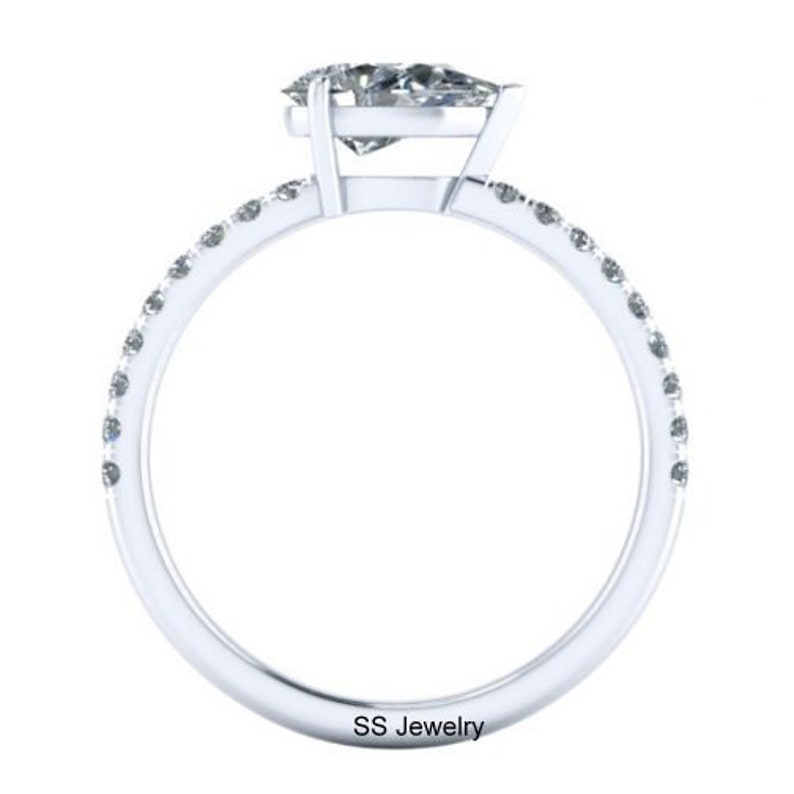 1 Ct Pear Moissanite 14Kt White Gold Ring Near Colorless Moissanite Engagement Ring Her Gift Ring Solitaire Ring Vintage Wedding Ring