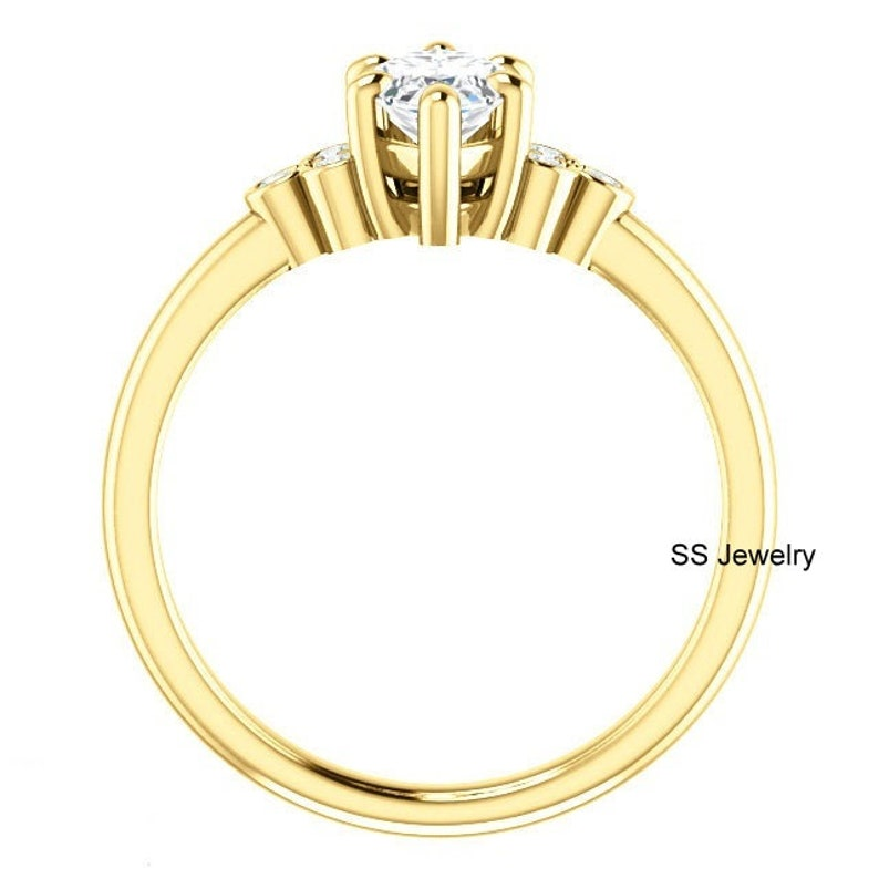 1.50 Ct Marquise Cut Near Colorless Moissanite 10Kt  14Kt  18Kt Yellow Gold Ring Solid Gold Gift Ring Solitaire Shank Engagement Ring