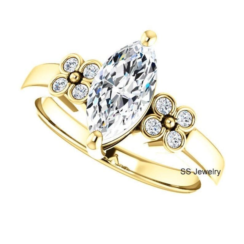 Marquise Cut 14k Yellow Gold Moissanite Engagement Ring 1.50 Ct Near Colorless Moissanite Solitaire Ring Classic Moissanite Wedding Ring