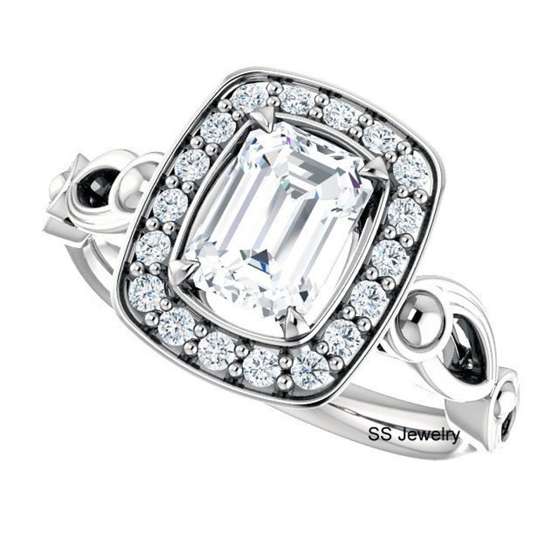 Filigree Engagement Ring Halo Ring in 14Kt White Gold Art Deco Wedding Ring Pave Set Ring 1.00 Ct Emerald Cut Near Colorless Moissanite