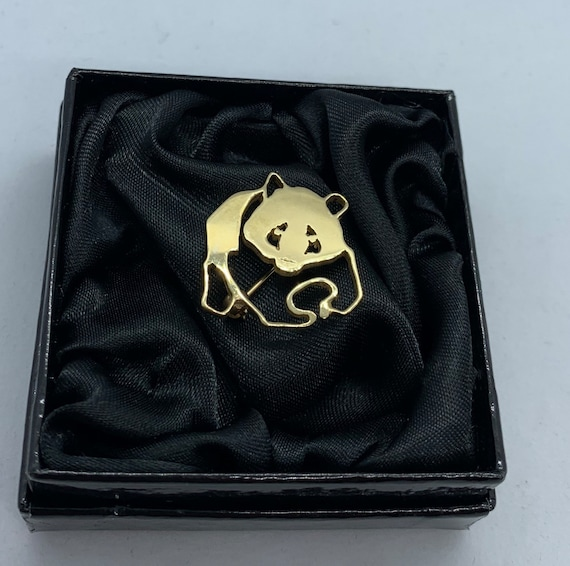 Vintage Panda Brooch. 9ct Gold Animal Brooch. WWF.