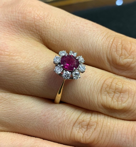 Ruby & Diamond Cluster Ring. 18ct Gold and Platinu